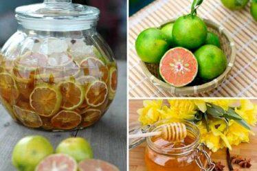 ngâm chanh đào mật ong đường phèn
